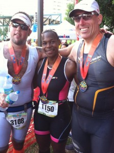 Jason, Eboni, and Pearce after Miami 70.3.