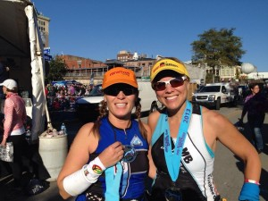 Heather and Melissa after Beach2Battleship half ironman.