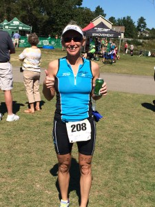 Katrina finishing Pinehurst Tri.