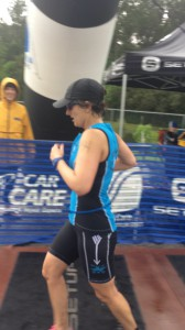 Tracey finishing her first 70.3!