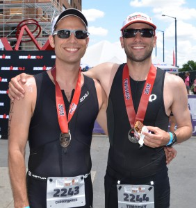 Tim and Chris after finishing Raleigh 70.3
